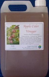 apple cider vinegar in 5 litre container